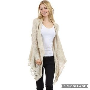 Sweaters - Ivory Lace Trim Cardigan